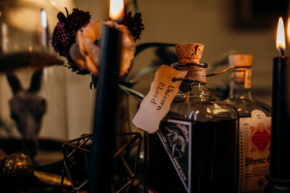 Drinks Trolley Bar Potions Bottles Harry Potter Wedding Ideas Thyme Lane Photography