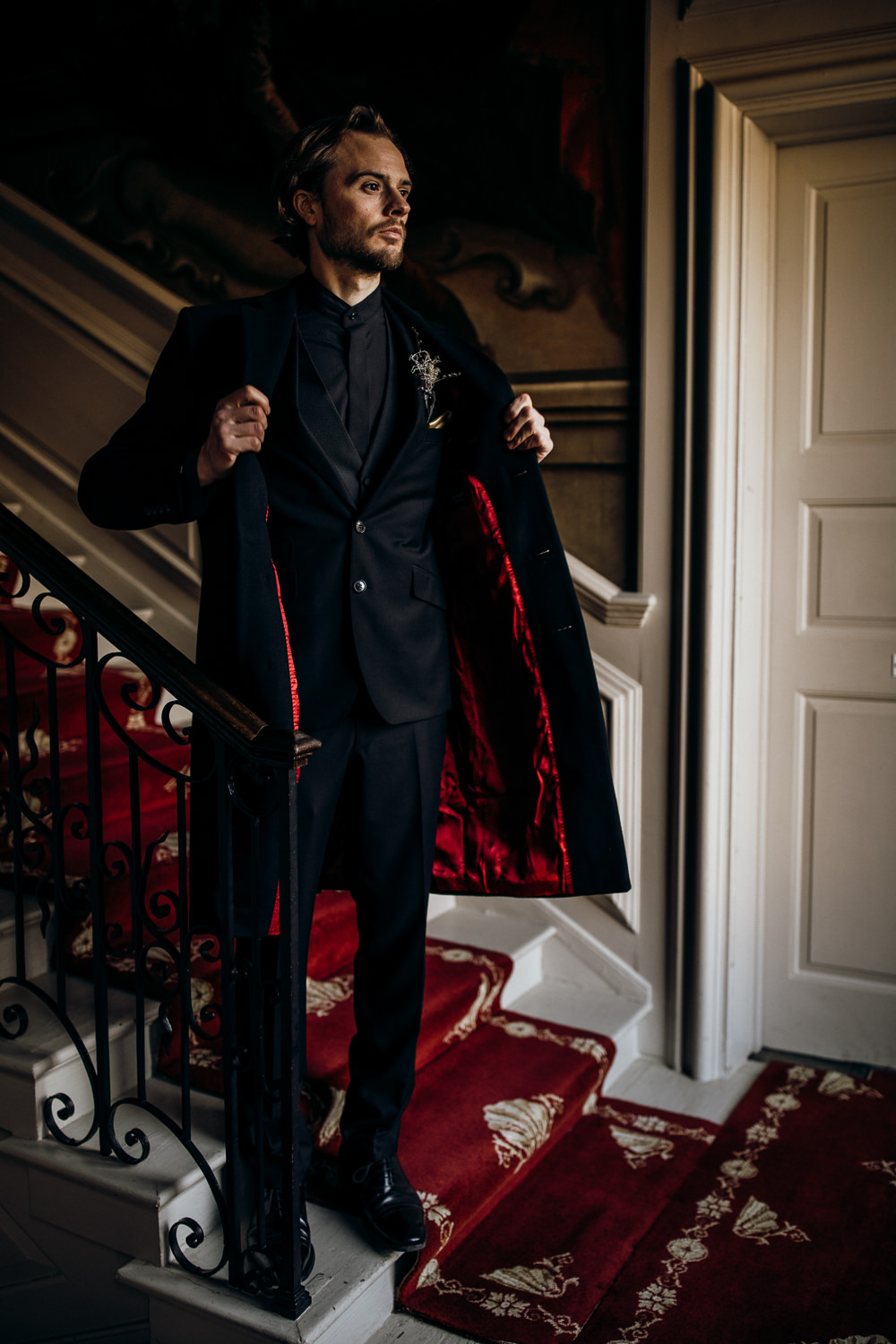 Groom Suit Black Waistcoat Tie Coat Red Lining Harry Potter Wedding Ideas Thyme Lane Photography