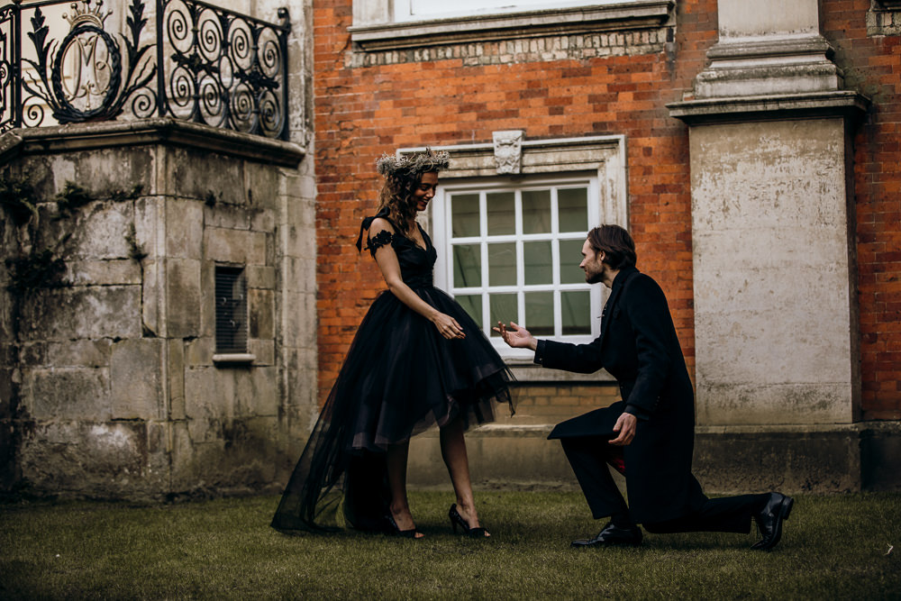 Dress Gown Bride Bridal Black Dip Hem Train Harry Potter Wedding Ideas Thyme Lane Photography