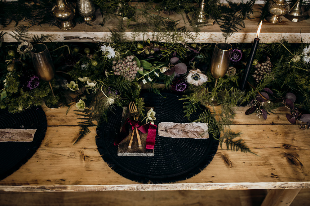 Table Tablescape Decor Decoration Candles Velvet Brass Flowers Ferns Place Setting Harry Potter Wedding Ideas Thyme Lane Photography