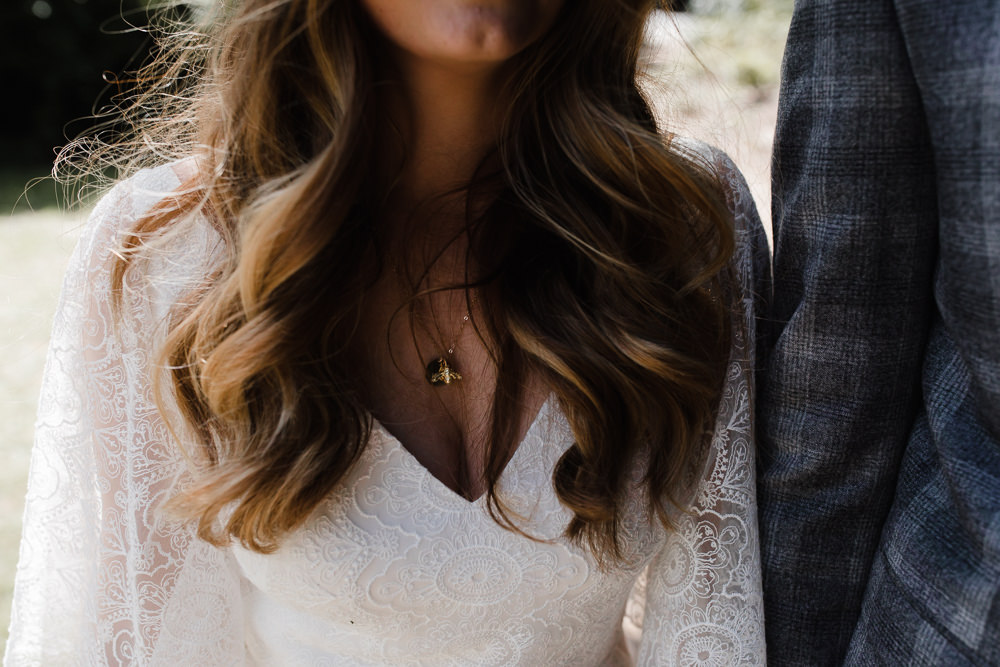 Bride Bridal Hair Waves Necklace Hope Mill Theatre Wedding Lee Garland Photography