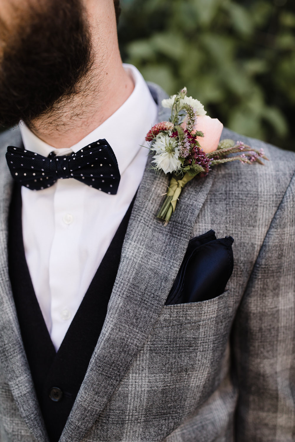 Groom Suit Bow Tie Grey Check Waistcoat Buttonhole Flowers Hope Mill Theatre Wedding Lee Garland Photography