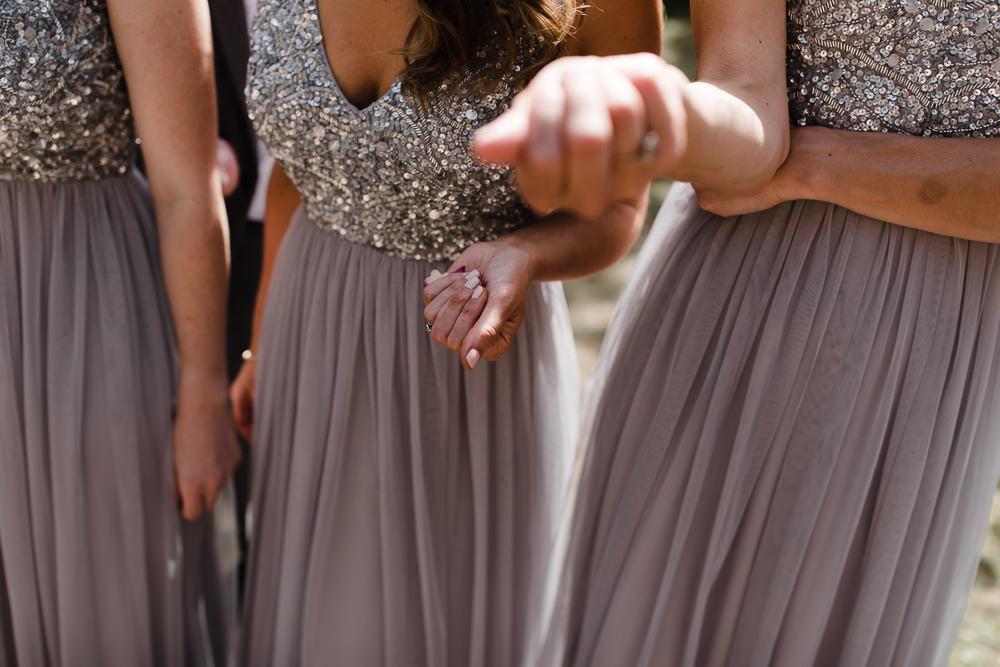 Bridesmaid Bridesmaids Dresses Sequin Grey Hope Mill Theatre Wedding Lee Garland Photography