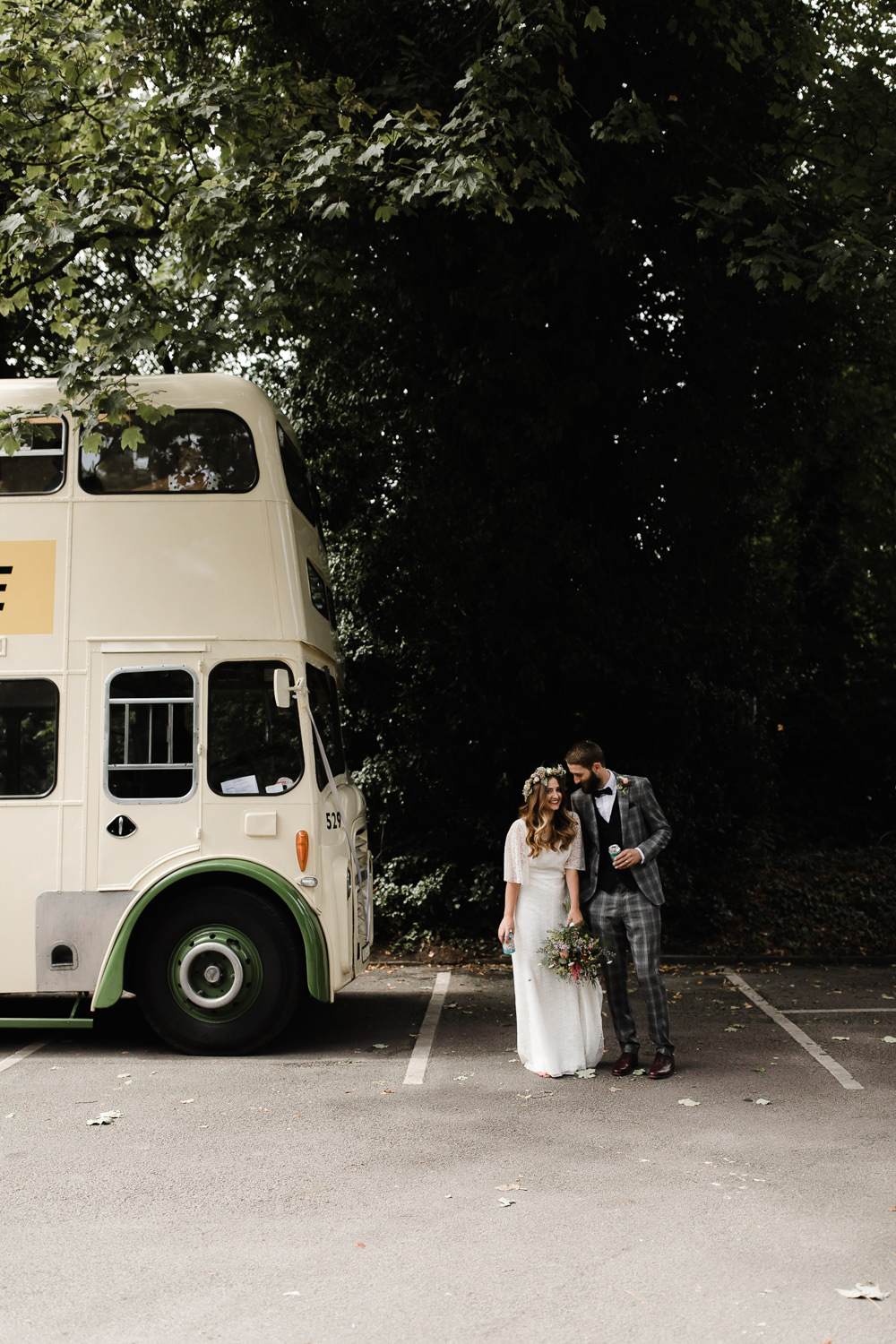 Vintage Traditional Double Decker Bus Transport Hope Mill Theatre Wedding Lee Garland Photography