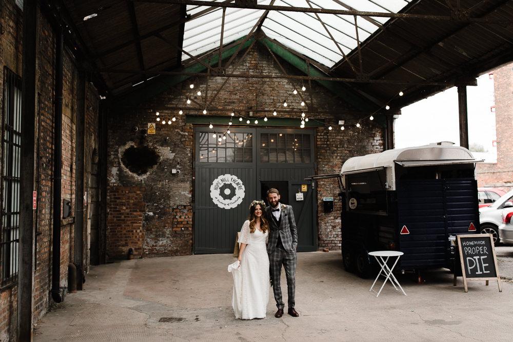 Industrial Festoon Lights Food Truck Hope Mill Theatre Wedding Lee Garland Photography