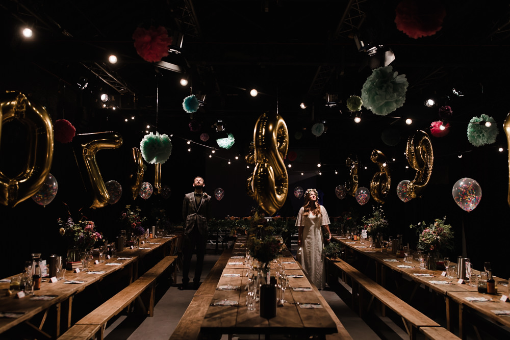 Long Tables Industrial Reception Venue Pom Poms Balloons Festoon Lights Decor Hope Mill Theatre Wedding Lee Garland Photography
