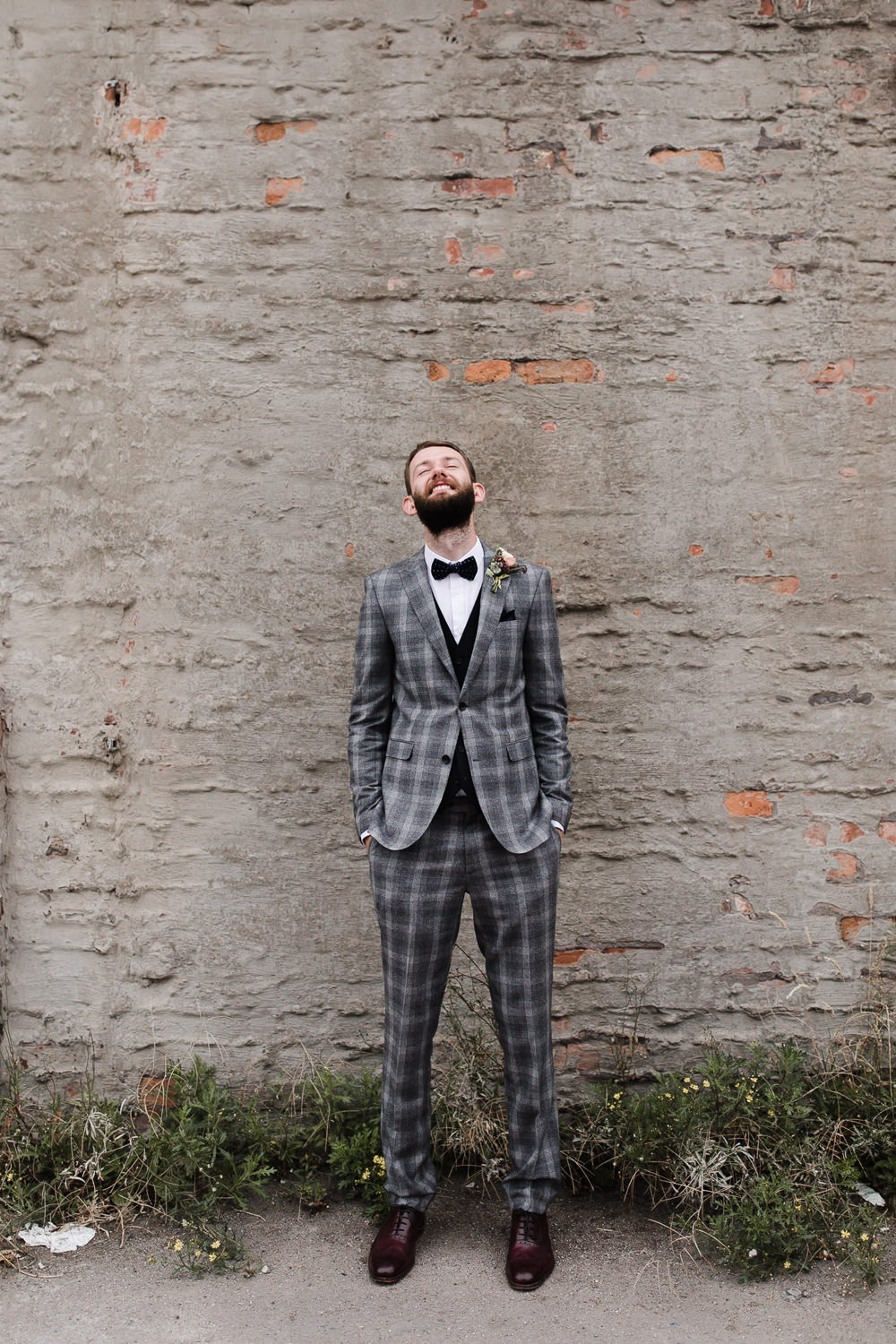 Groom Suit Bow Tie Grey Check Waistcoat Hope Mill Theatre Wedding Lee Garland Photography