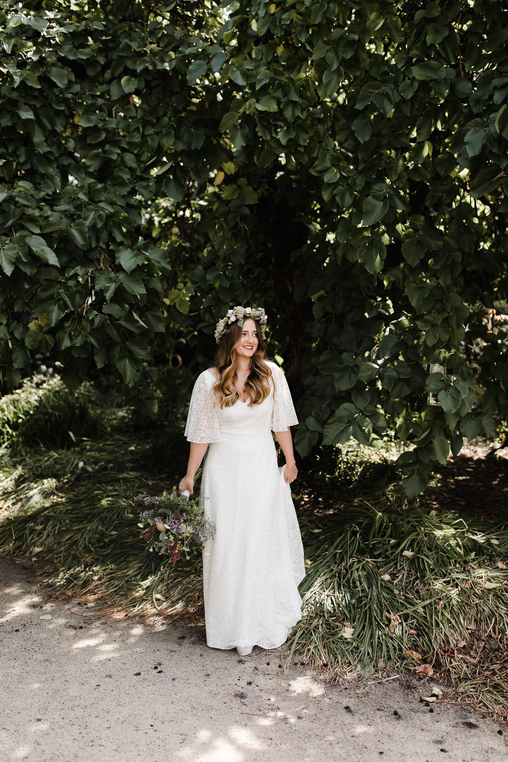 Bride Bridal Dress Gown Rolling In Roses Lace Sleeves Train Boho Bohemain Flower Crown Hope Mill Theatre Wedding Lee Garland Photography