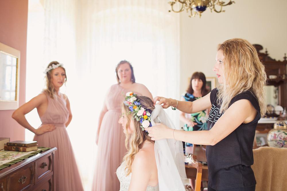 Bride Bridal Veil Flower Crown Hair Style Kefalonia Wedding Cotton Candy Weddings