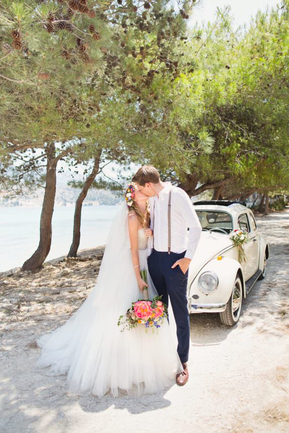 VW Beetle Transport Car Kefalonia Wedding Cotton Candy Weddings