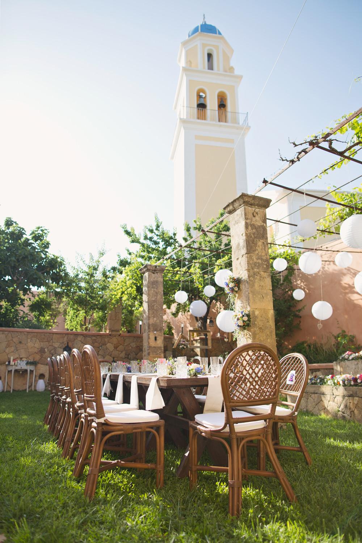Outdoor Table Tablescape Reception Lanterns Kefalonia Wedding Cotton Candy Weddings