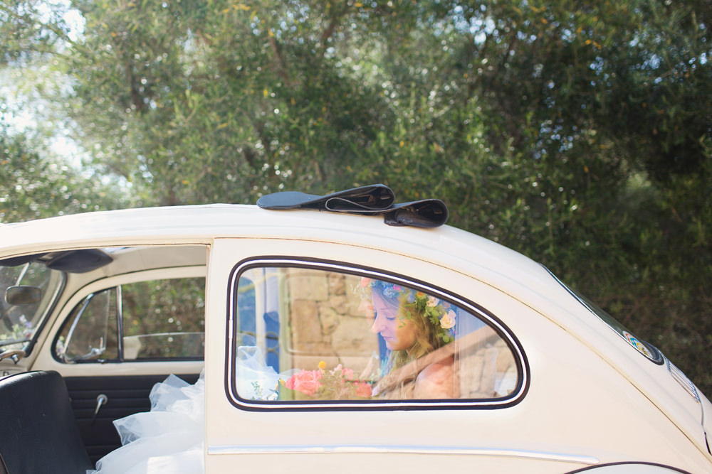 VW Beetle Transport Car Kefalonia Wedding Cotton Candy Weddings