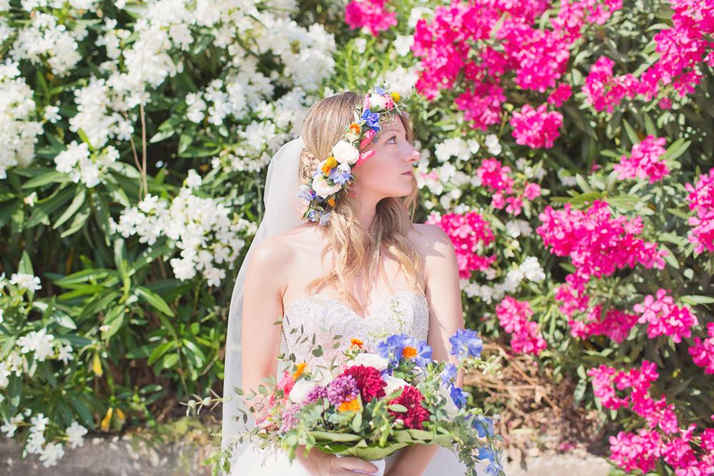 Bride Bridal Flower Crown Kefalonia Wedding Cotton Candy Weddings