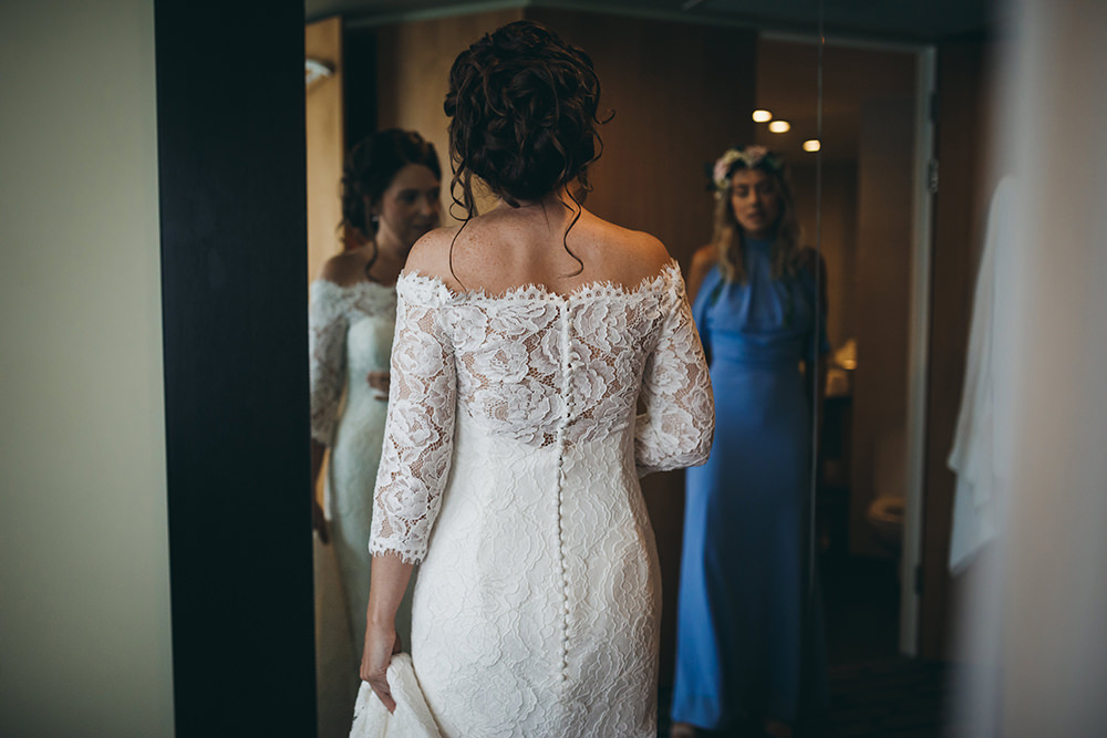 Dress Gown Bride Bridal Lace Long Sleeves Train Veil Pronovias Kingsettle Stud Wedding Mark Tattersall Photography