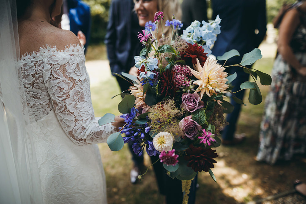 Bouquet Flowers Bride Bridal Dahlia Rose Natural Wild Ribbons Kingsettle Stud Wedding Mark Tattersall Photography