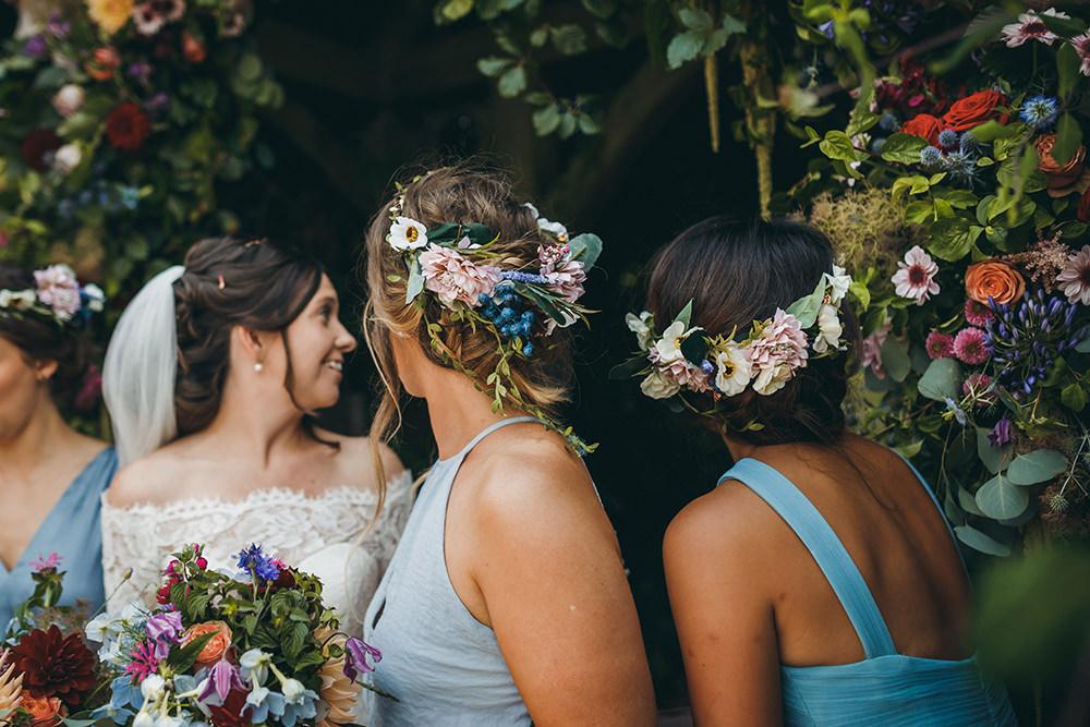 Bridesmaids Bridesmaid Dress Dresses Blue Flower Crowns Kingsettle Stud Wedding Mark Tattersall Photography