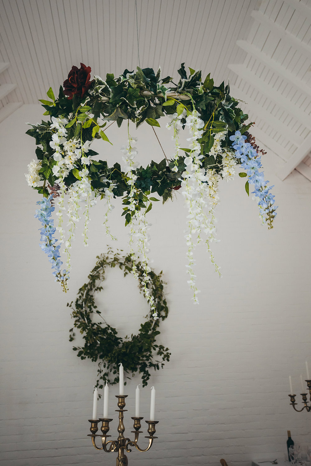 Hanging Suspended Flowers Florals Greenery Kingsettle Stud Wedding Mark Tattersall Photography