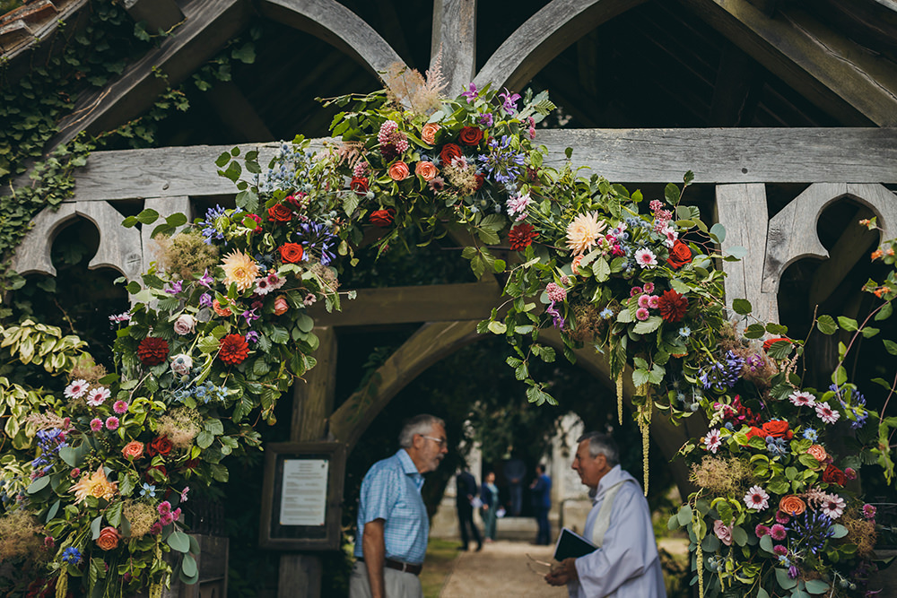 Flower Arch Flowers Church Arch Backdrop Kingsettle Stud Wedding Mark Tattersall Photography