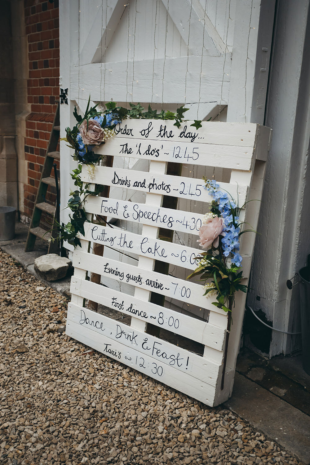Wooden Pallet Order of Day Sign Signs Signage Kingsettle Stud Wedding Mark Tattersall Photography