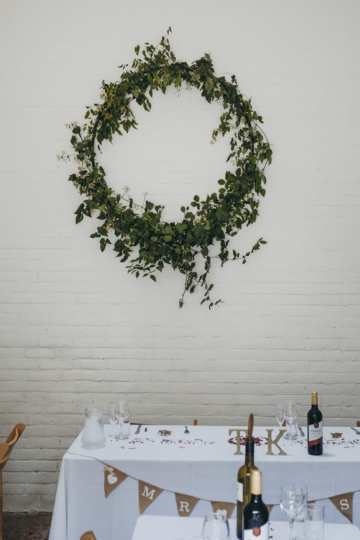 Greenery Foliage Wreath Backdrop Kingsettle Stud Wedding Mark Tattersall Photography