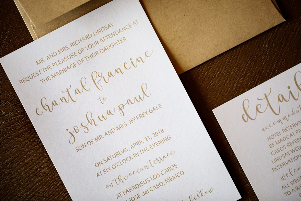 Gold Calligraphy Stationery Invite Invitations Los Cabos Wedding Anna Gomes Photo