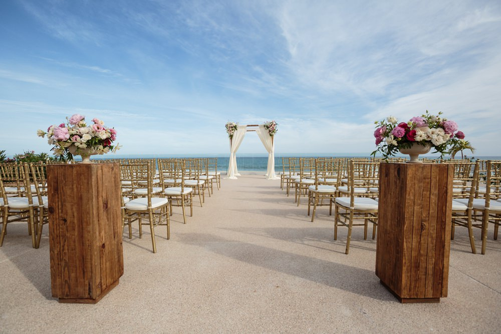 Ceremony Outdoor Beach Sea Flowers Aisle Floral Arch Backdrop Los Cabos Wedding Anna Gomes Photo