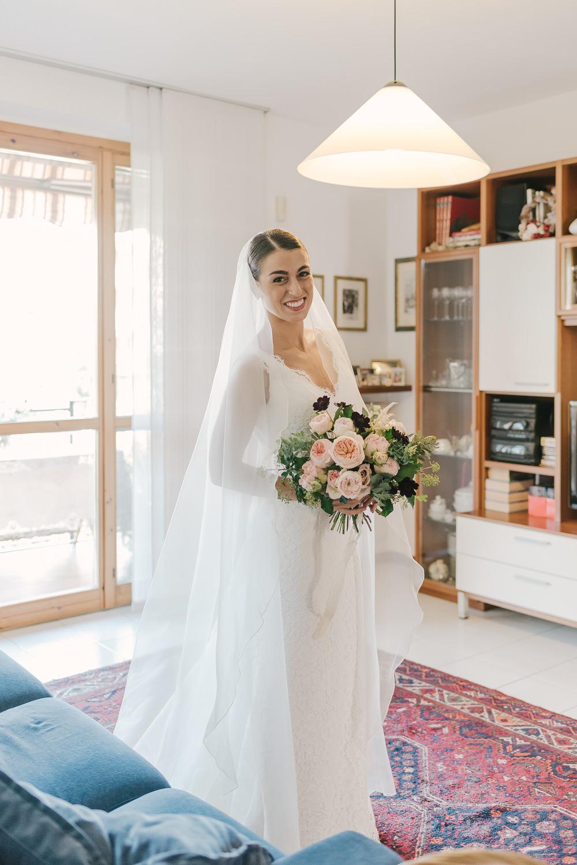 Bride Bridal Dress Gown Lace Belt Straps Veil Milan Wedding Rossella Putino Photographer