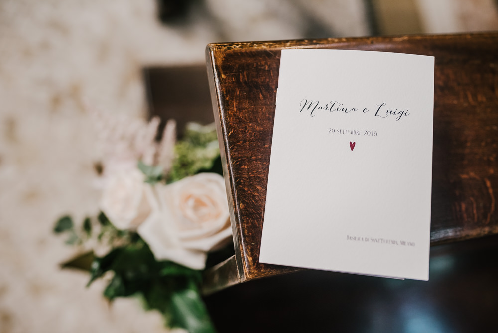 Order of Service Stationery Milan Wedding Rossella Putino Photographer