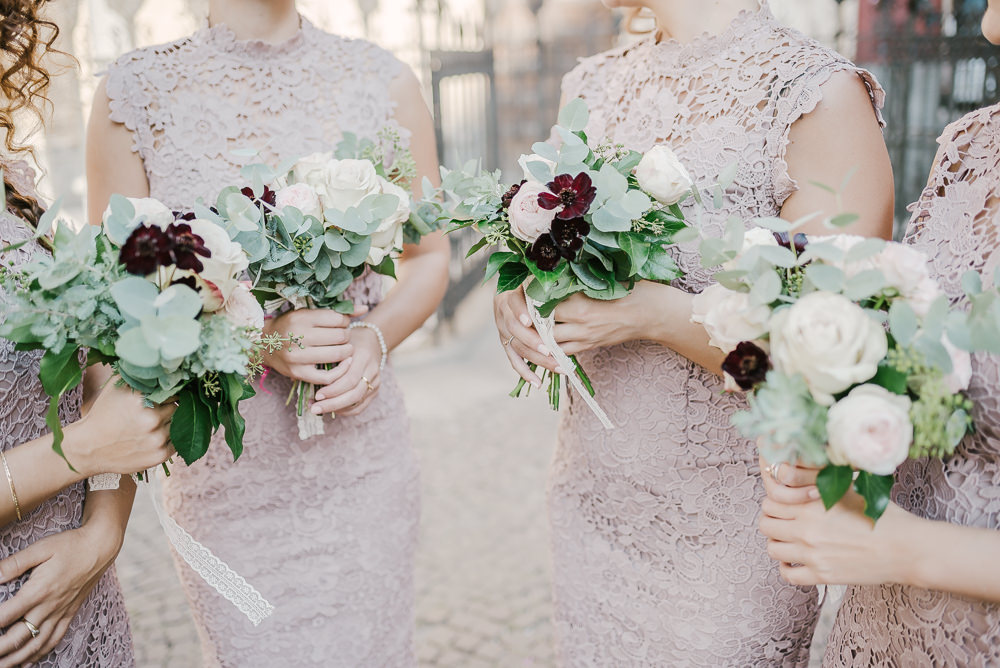 Bridesmaids Bouquets Flowers Rose Greenery Milan Wedding Rossella Putino Photographer