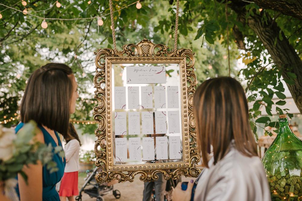 Gold Frame Seating Plan Table Chart Milan Wedding Rossella Putino Photographer