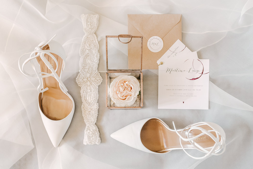 Shoes Stationery Flat Lay Accessories Milan Wedding Rossella Putino Photographer