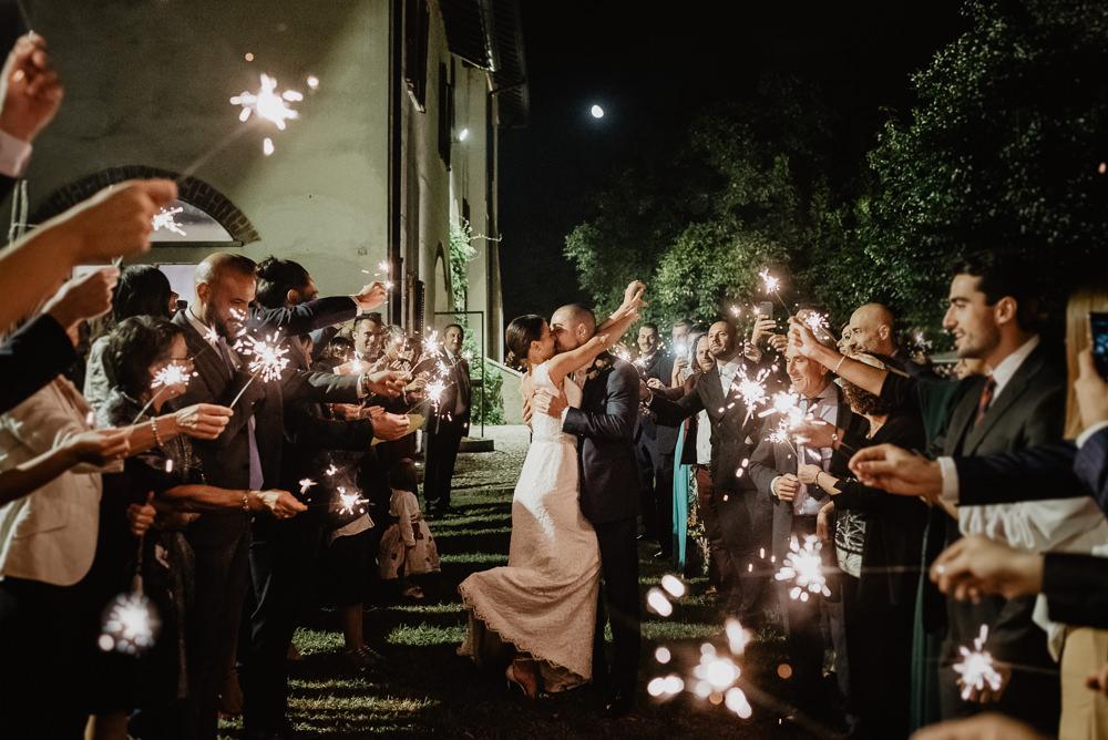 Sparkler Send Off Exit Sparklers Milan Wedding Rossella Putino Photographer
