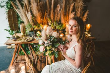 Pampas Grass Wedding Ideas with Bohemian Luxe Style