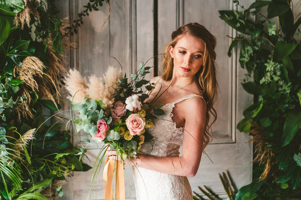 Bouquet Flowers Bride Bridal Rose Cotton Eucalyptus Pampas Grass Wedding Ideas Tim Stephenson Photography