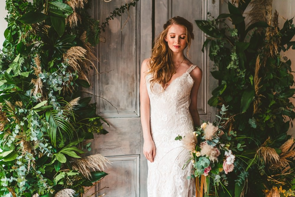 Backdrop Doors Shutters Greenery Foliage Candles Arch Flower Installation Pampas Grass Wedding Ideas Tim Stephenson Photography