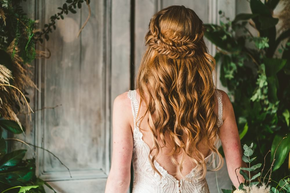 Bride Bridal Hair Waves Plait Braid Halo Style Pampas Grass Wedding Ideas Tim Stephenson Photography