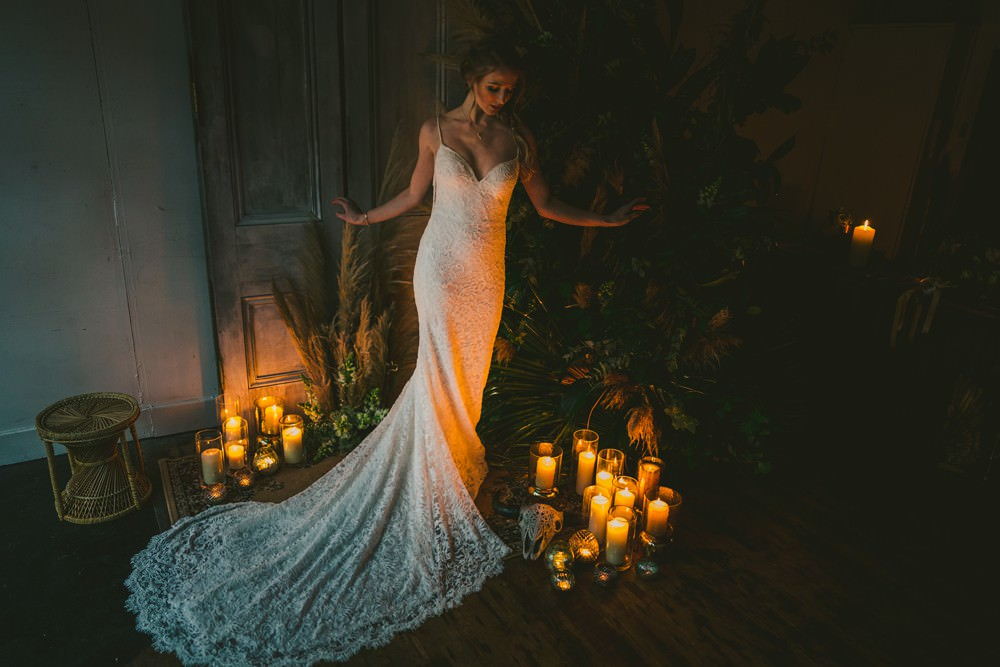 Dress Gown Bride Bridal Train Lace Pampas Grass Wedding Ideas Tim Stephenson Photography