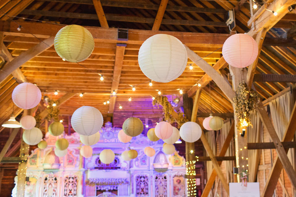 Pink Gold White Paper Lanterns Festoon Lighting Preston Court Wedding Cotton Candy Wedding Photography