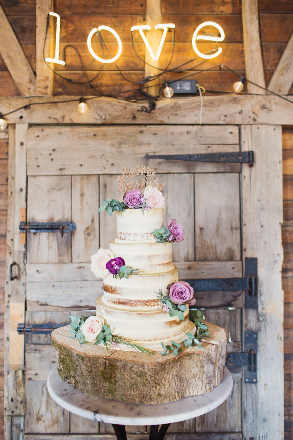 Semi Naked Buttercream Cake Wood Slice Log Flowers Light Up Love Sign Preston Court Wedding Cotton Candy Wedding Photography