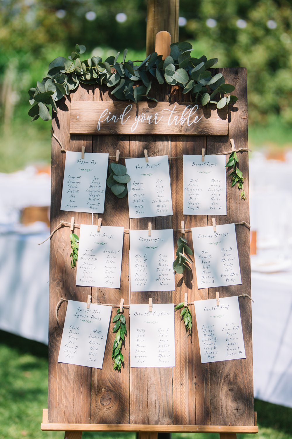 Table Plan Seating Chart Wooden Easel Peg Twine Eucalyptus Saint Tropez Wedding Sophie Boulet Photographe