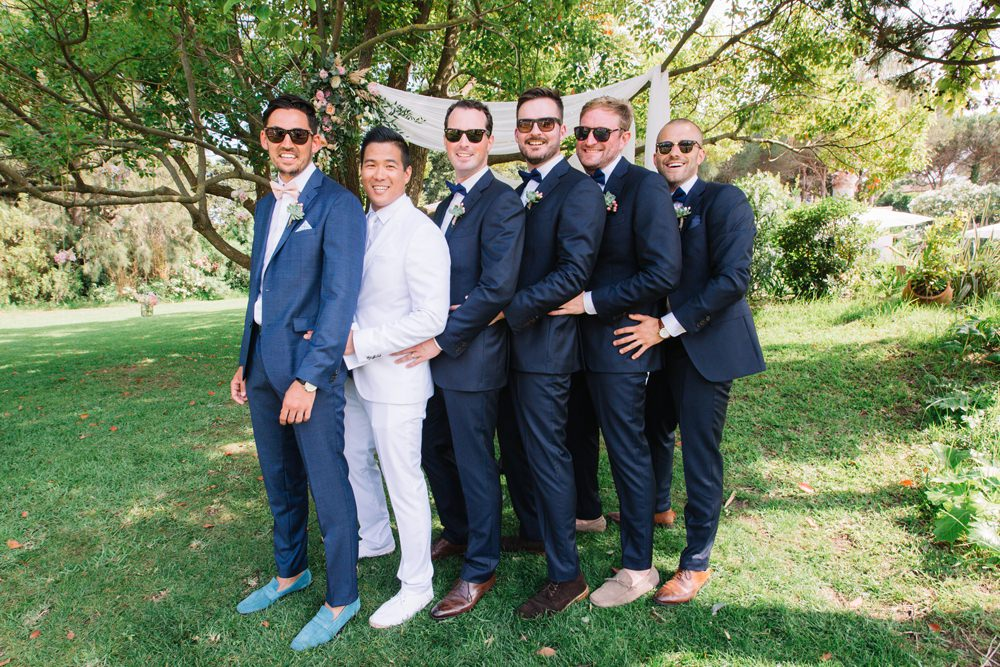 Groomsmen Navy Blue Suit Pink Bow Tie Groom White Saint Tropez Wedding Sophie Boulet Photographe