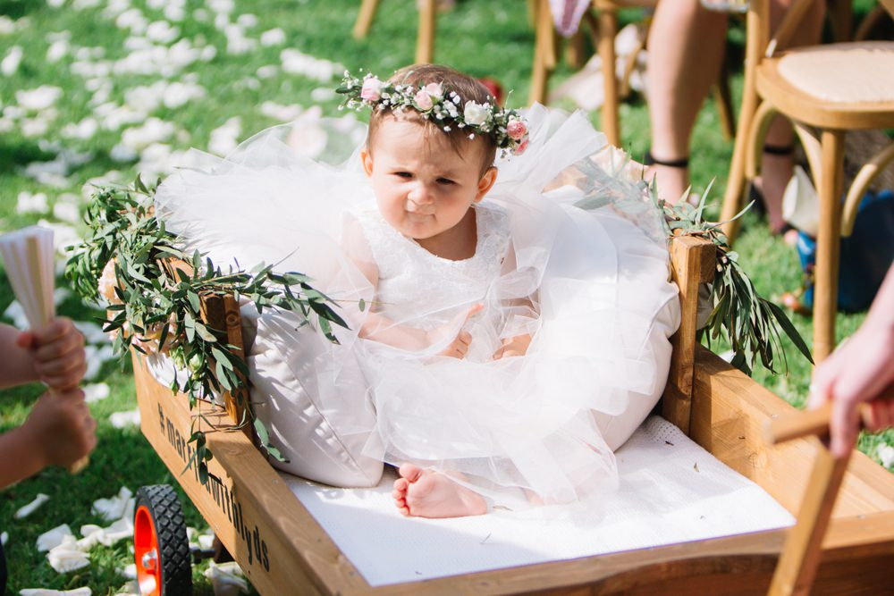 Flower Girl Carriage Wagon Flower Crown Foliage Saint Tropez Wedding Sophie Boulet Photographe