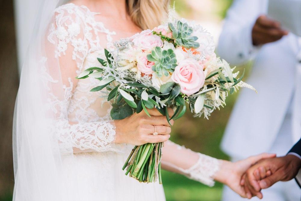 Bride Bridal Bouquet Pink Coral Rose Peony Succulent Saint Tropez Wedding Sophie Boulet Photographe