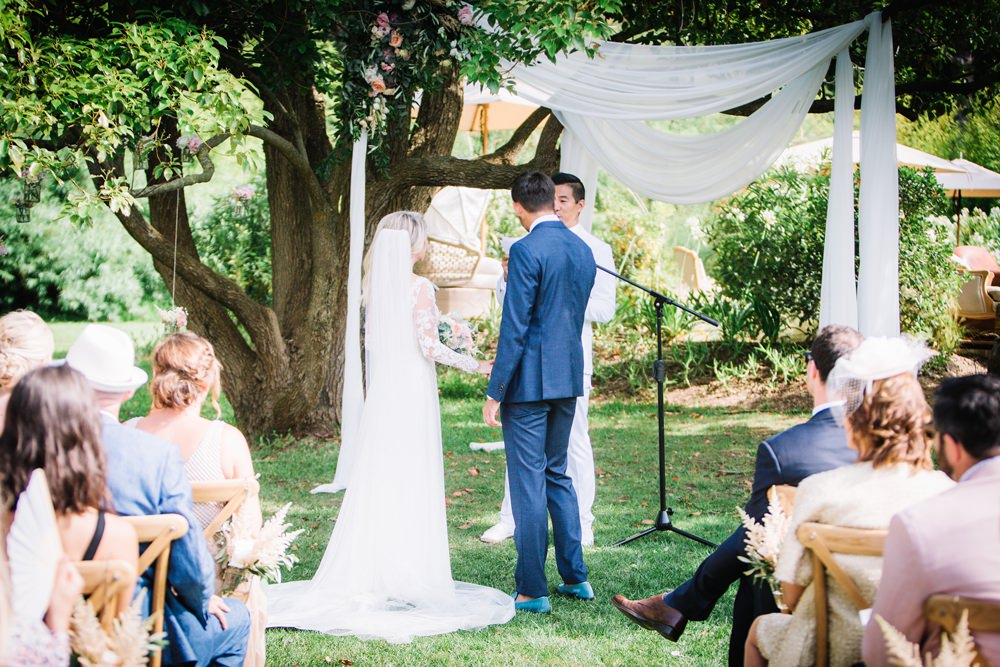 Bride Bridal Long Sleeve Lace Dress Train Navy Blue Suit Groom Veil Saint Tropez Wedding Sophie Boulet Photographe