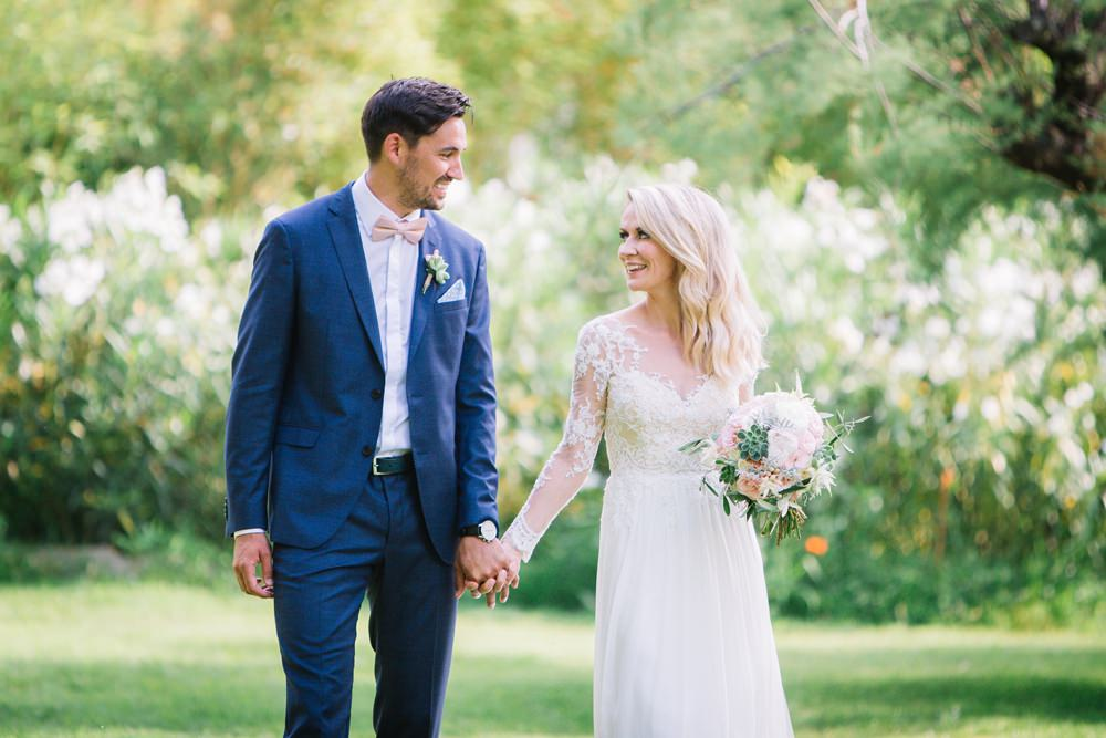 Bride Bridal Long Sleeve Lace Dress Train Navy Blue Suit Groom Pink Bow Tie Bouquet Saint Tropez Wedding Sophie Boulet Photographe