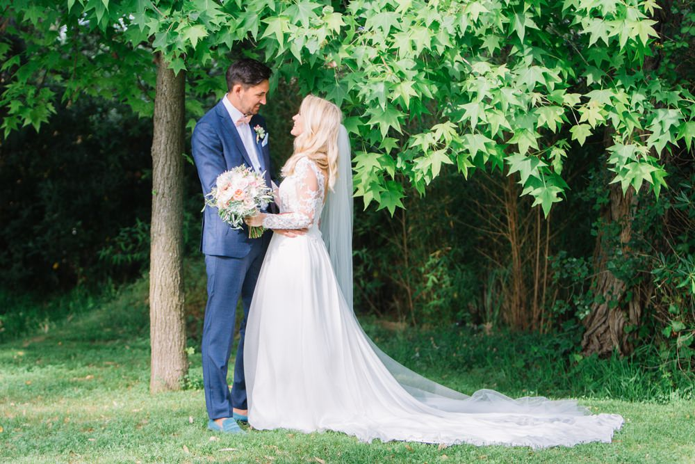 Bride Bridal Long Sleeve Lace Dress Train Navy Blue Suit Groom Bouquet Saint Tropez Wedding Sophie Boulet Photographe