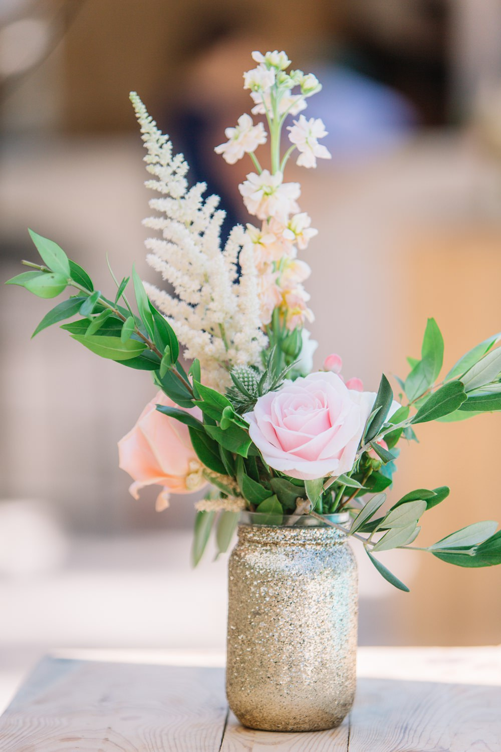 Gold Glitter Jar Flowers Floral Display Saint Tropez Wedding Sophie Boulet Photographe