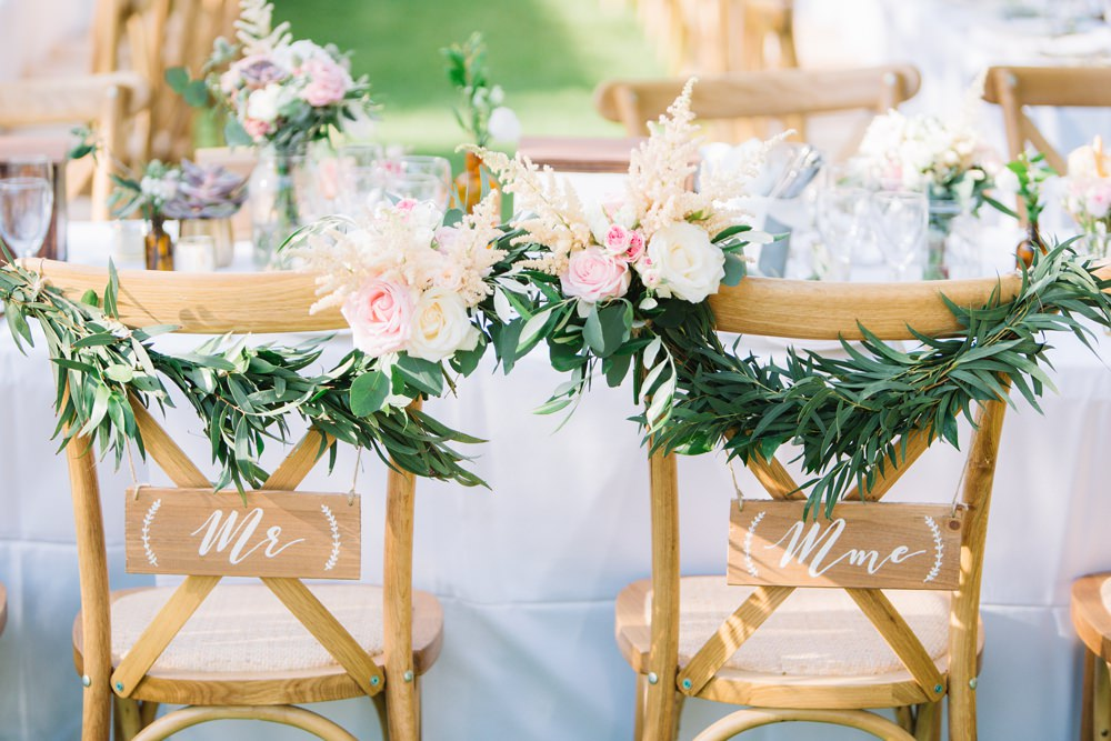 Chair Back Sign Mr Mrs Foliage Greenery Florals Saint Tropez Wedding Sophie Boulet Photographe