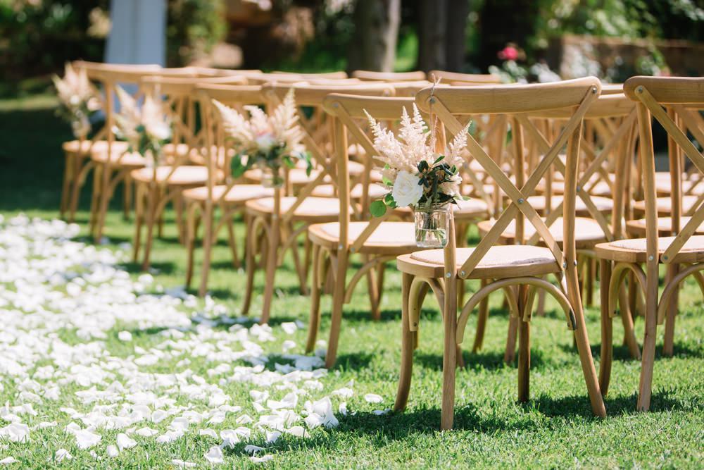 Aisle Chair Pew Ends Jar Florals Flowers Confetti Petal Aisle Saint Tropez Wedding Sophie Boulet Photographe