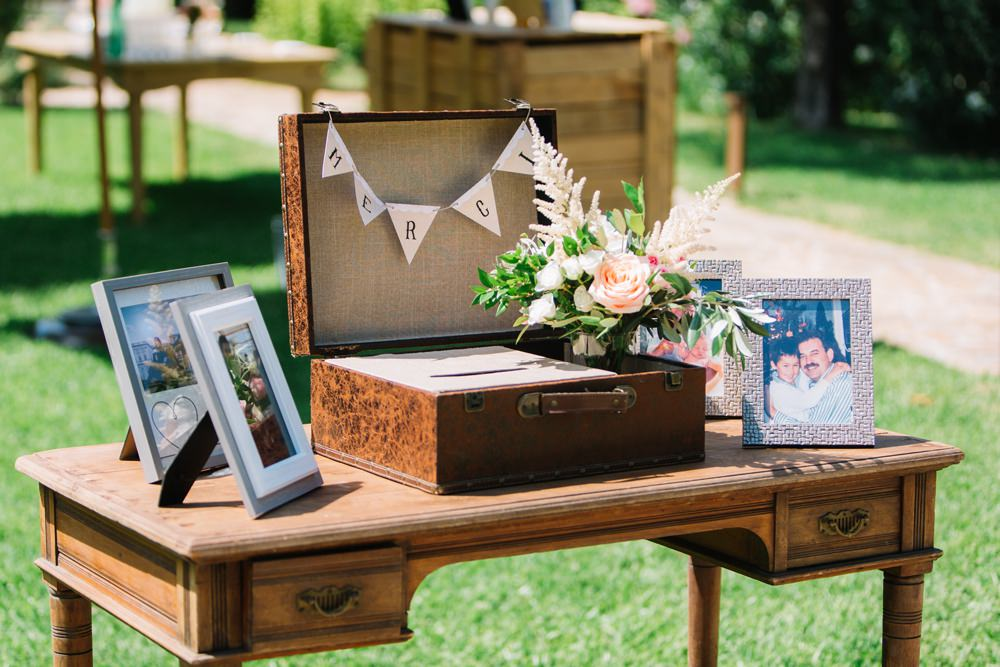 Card Table Vintage Box Family Photographs Bunting Saint Tropez Wedding Sophie Boulet Photographe